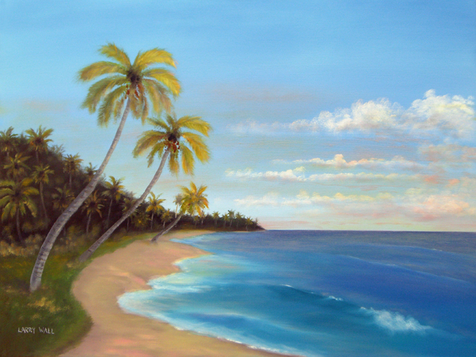TROPICAL BEACH Original Oil - 18' X 24
