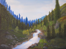 MOUNTAIN CREEK OIL PAINTING BY LARRY WALL