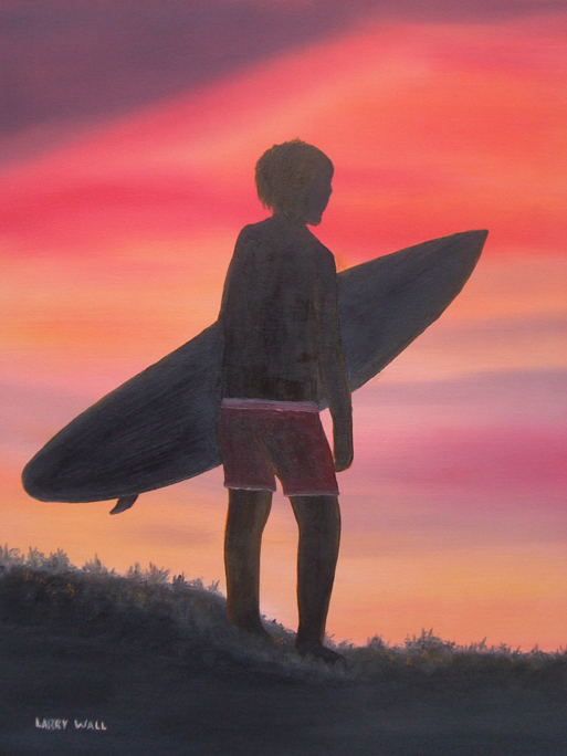 SURFER BOY painting by Larry Wall
