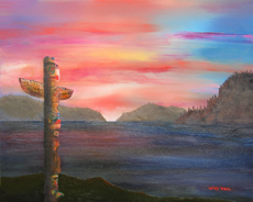 totem sunset 16 X 20 oil painting
