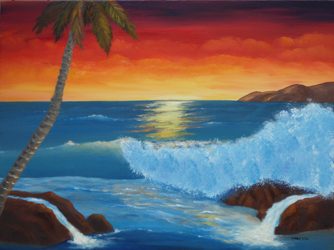 TROPICAL SUNSET WAVE Original Oil - 18