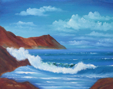 CRASHING WAVE  Original Oil Painting by Larry Wall