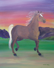 HORSE PAINTING FREEDOM OIL PAINTING BY LARRY WALL