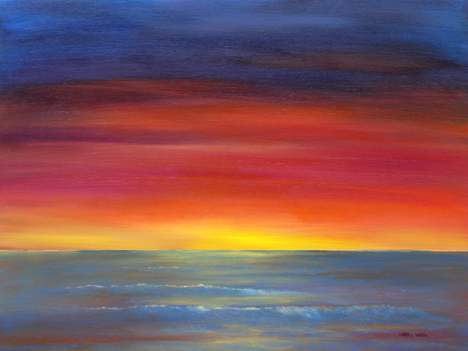 MAUI SUNSET PAINTING BY LARRY WALL