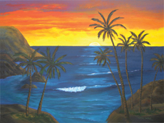 PEACEFUL SUNSET Acrylic Paintings by Larry Wall