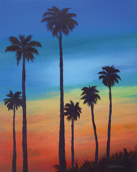 SUNSET PALMS PAINTING BY LARRY WALL