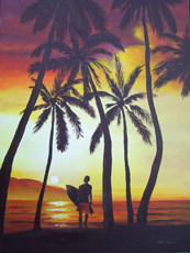 SUNSET SURFER PAINTING LARRY WALL