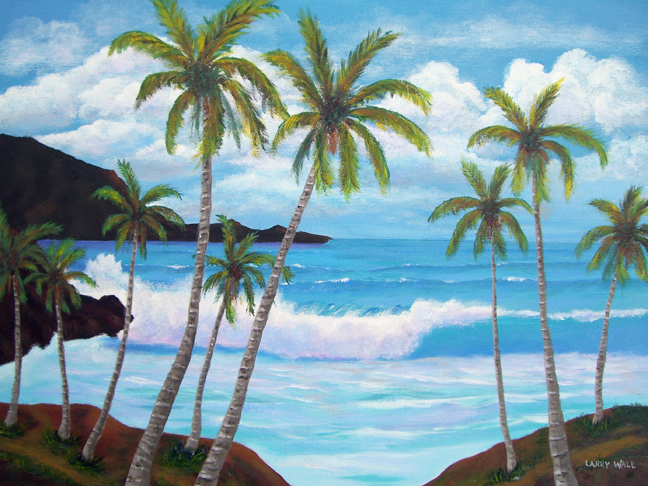 TROPICAL BLUE SURF Paintings by Larry Wall. Ocean Wave, Seascape, Marine, Scenic - Phone: 206-364-4365