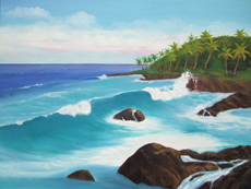 TROPICAL KONA 2 Oil Paintings by Larry Wall. Ocean Wave, Seascape, Marine, Scenic - Phone: 206-364-4365