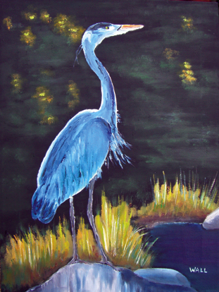 GREAT BLUE HERON Original Oil Paintings by Larry Wall - Ocean Surf Waves - Seascape - Marine - Scenic