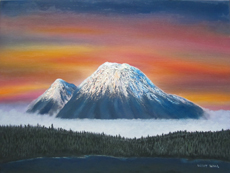 MT RAINIER SUNSET #2 Original Oil - 18