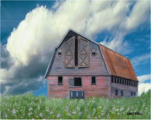 MOTHER'S BARN Framed Original Giclee - 8' X 10 Original Oil Paintings by Larry Wall - Ocean Surf Waves, Seascape, Marine, Scenic