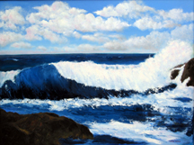 BIG BLUE WAVE Original Oil Paintings by Larry Wall - Ocean Surf Waves, Seascape, Marine, Scenic
