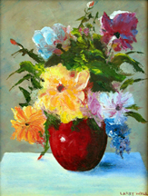 flowers in vase Original Oil Paintings by Larry Wall - Ocean Surf Waves, Seascape, Marine, Scenic