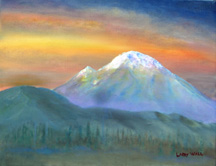 MT RAINER SUNSET Original Oil Paintings by Larry Wall - Ocean Surf Waves, Seascape, Marine, Scenic