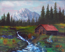 MOUNTAIN CABIN Original Oil Paintings by Larry Wall - Ocean Surf Waves, Seascape, Marine, Scenic