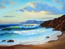 NORTHERN CALIFORNIA SURF #1Framed Original Oil - Original Oil Paintings by Larry Wall - Ocean Surf Waves, Seascape, Marine, Scenic