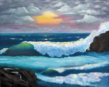 Ocean Sunset # 5 Original Oil Paintings by Larry Wall - Ocean Surf Waves, Seascape, Marine, Scenic