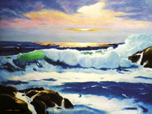 Ocean sunset Wave - Seascape - Marine - Oil Paintings Original Oil Paintings by Larry Wall - Ocean Surf Waves, Seascape, Marine, Scenic