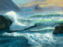 Ocean Surf Waves, Seascape OREGON COAST OIL PAINTING Original Oil Paintings by Larry Wall - Ocean Surf Waves, Seascape, Marine, Scenic