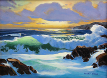 Ocean Surf Waves, Seascape sundown surf 2 Original Oil Paintings by Larry Wall - Ocean Surf Waves, Seascape, Marine, Scenic