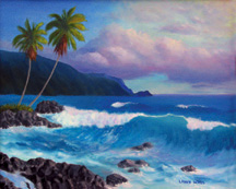 TROPICAL PALMS Original Oil Paintings by Larry Wall - Ocean Surf Waves, Seascape, Marine, Scenic